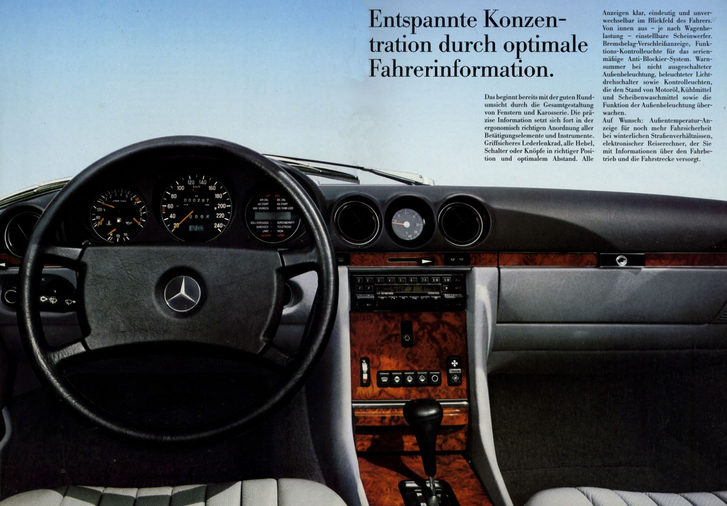 mercedes sl 1987 tableau de bord 01 echoretro. Black Bedroom Furniture Sets. Home Design Ideas